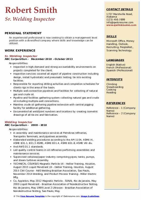 Sr. Welding Inspector Resume Sample