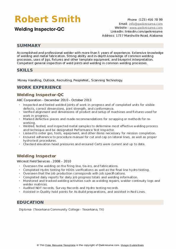Welding Inspector-QC Resume Example
