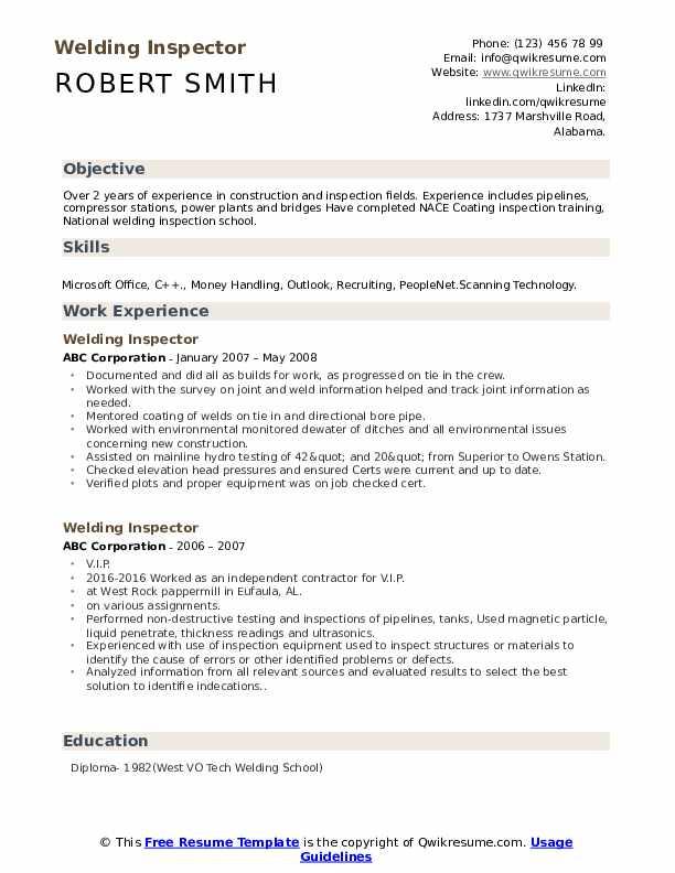 Welding Inspector Resume example