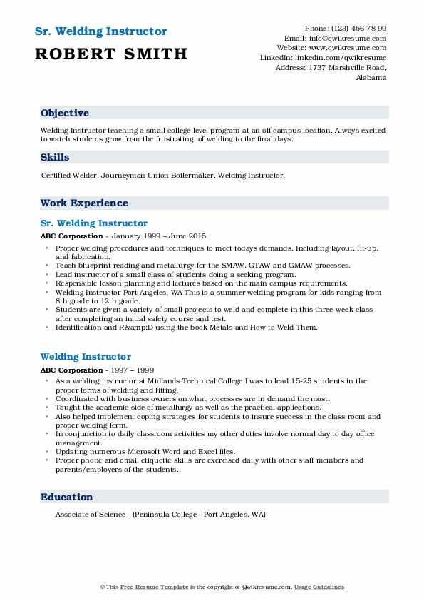 Welding Instructor Resume Samples