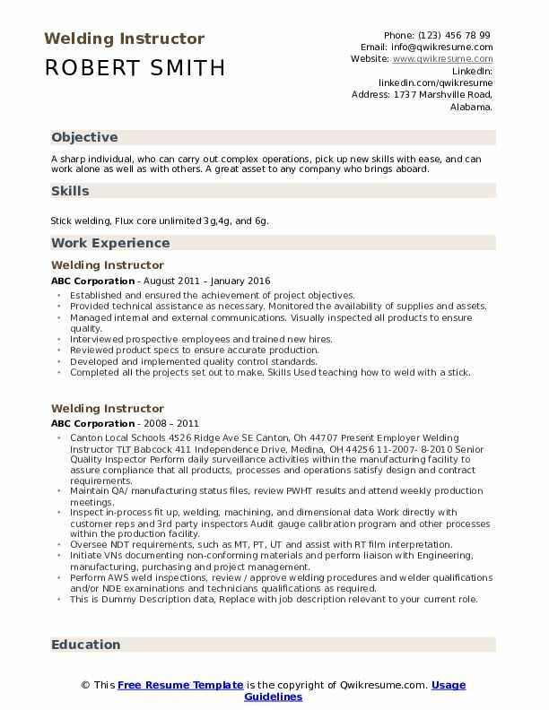 Welding Instructor Resume example