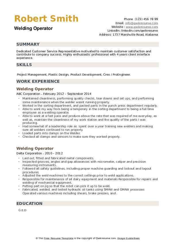 Welding Operator Resume example