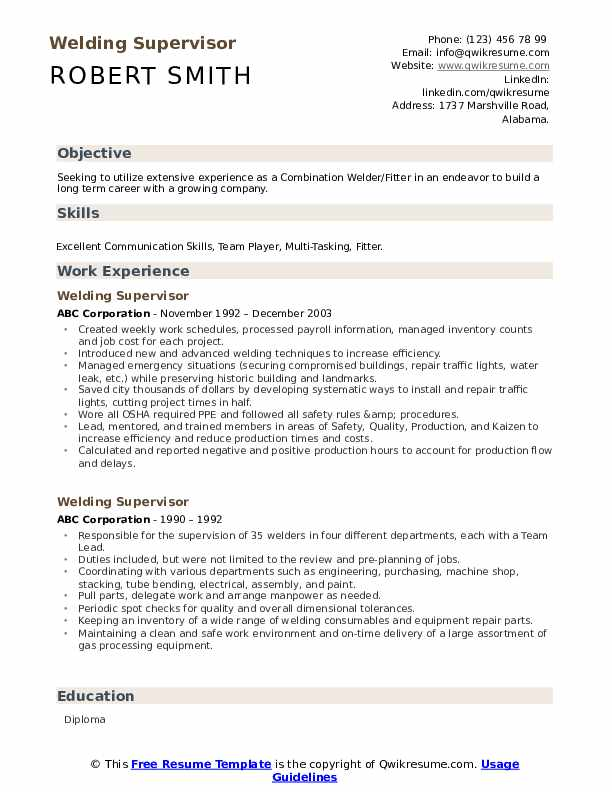 Welding Supervisor Resume Sample