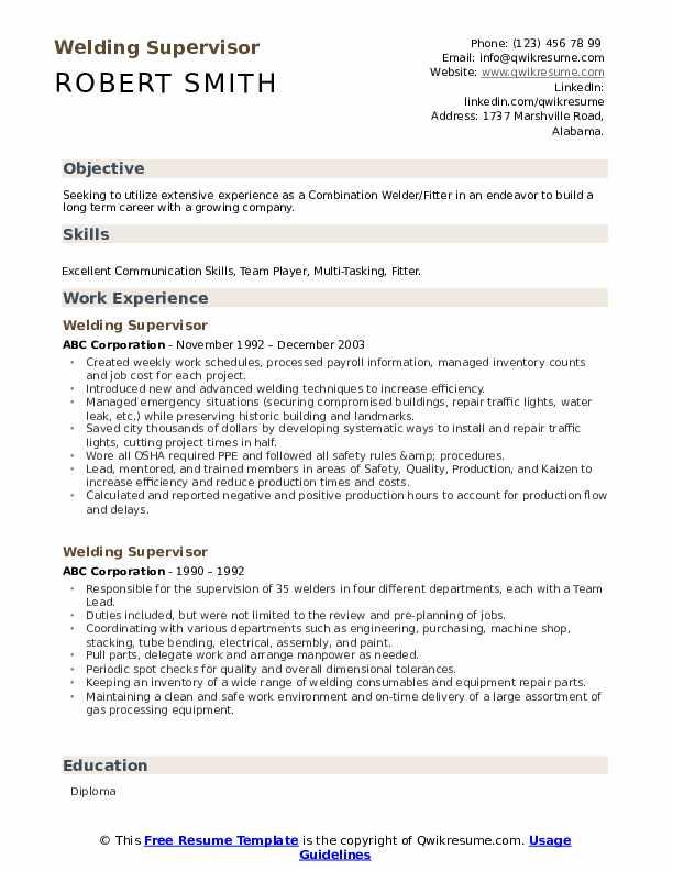 Welding Supervisor Resume Samples Qwikresume