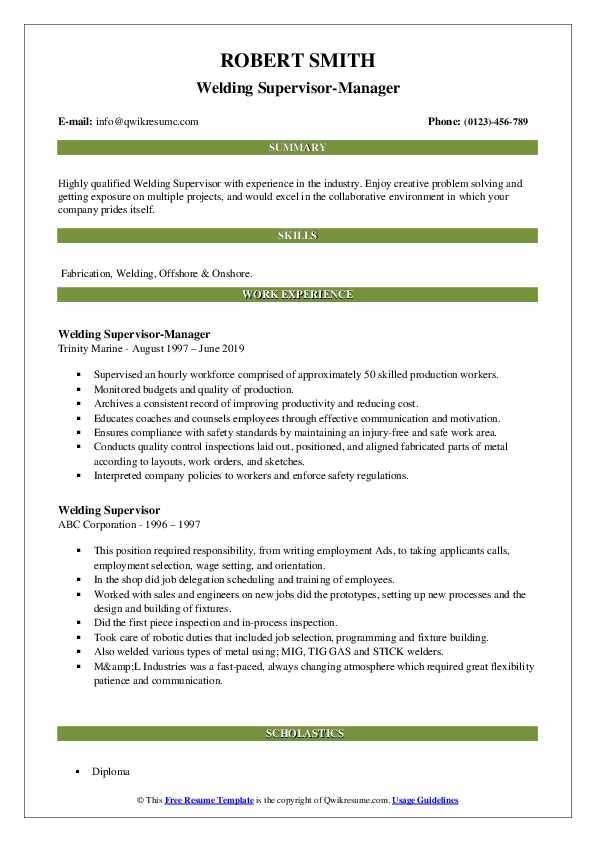 Welding Supervisor-Manager Resume Example