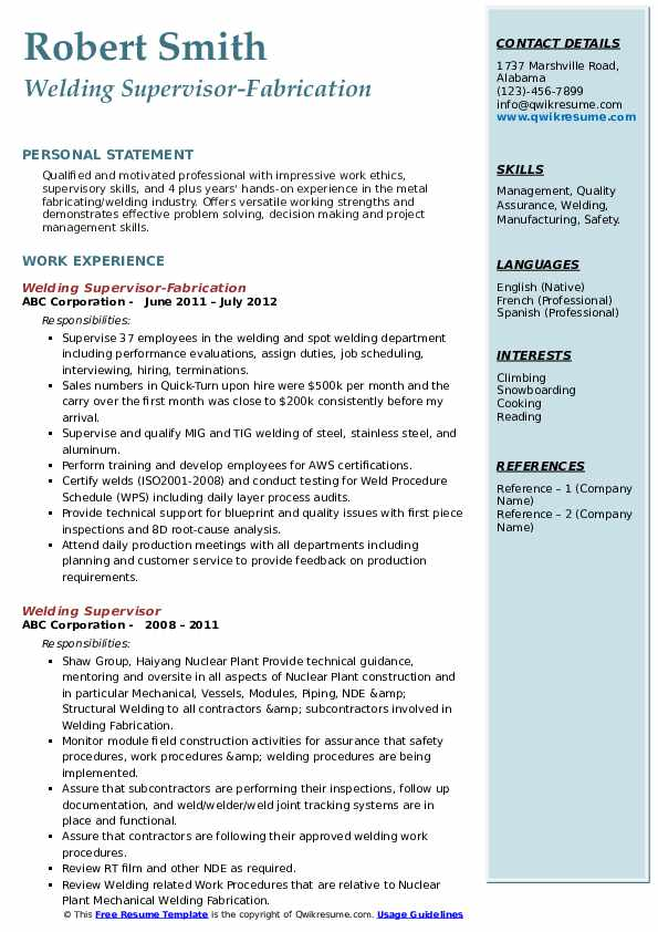 Welding Supervisor-Fabrication Resume Example