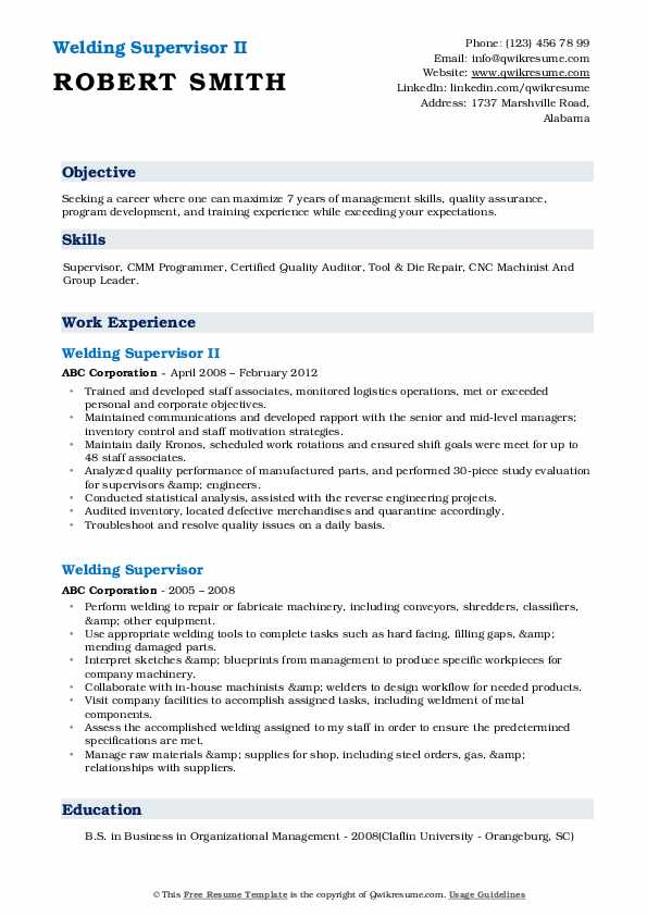 Welding Supervisor II Resume Model