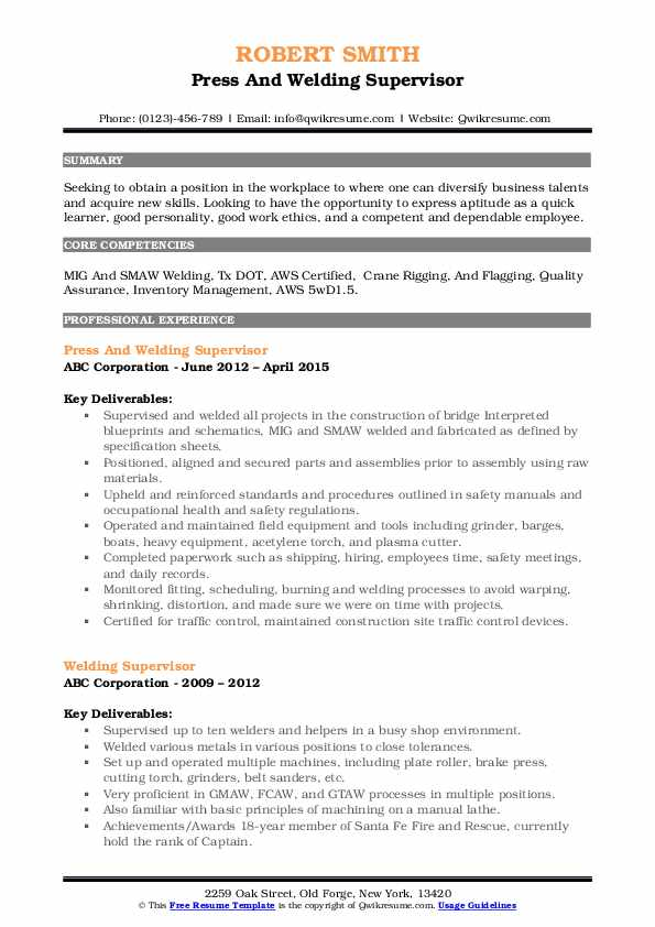 Press And Welding Supervisor Resume Model