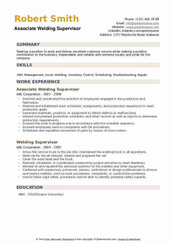 Associate Welding Supervisor Resume Format