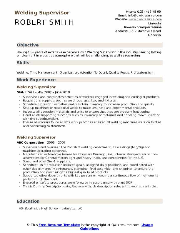 Welding Supervisor Resume Example