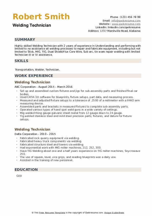 Welding Technician Resume example