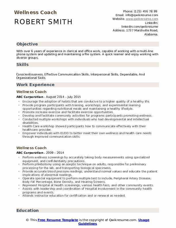 Wellness Coach Resume Model