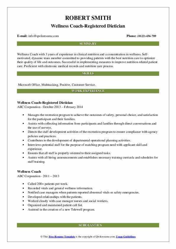 Wellness Coach-Registered Dietician Resume Model