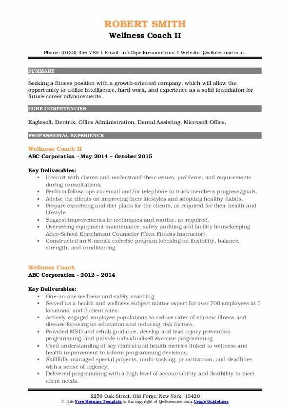 Wellness Coach II Resume Format