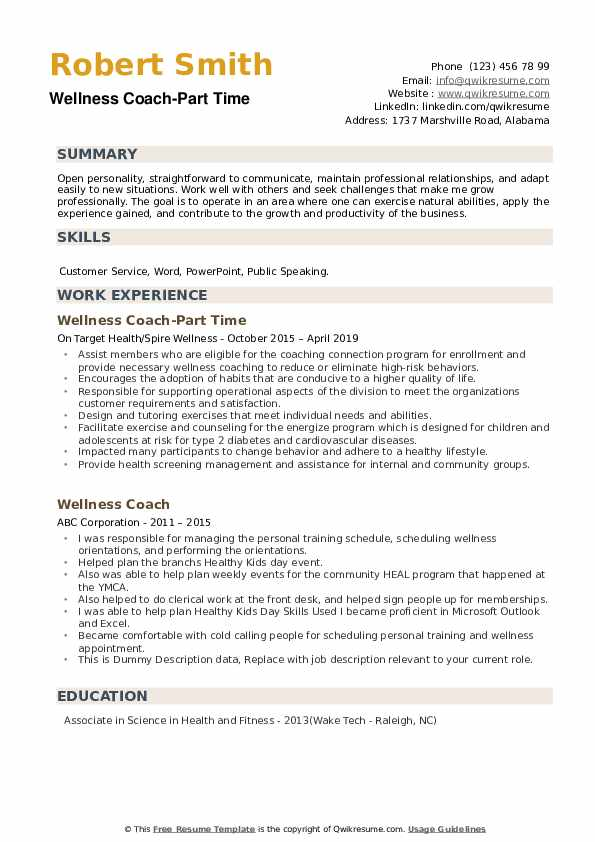 Wellness Coach-Part Time Resume Format