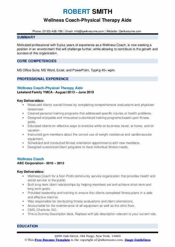 Wellness Coach-Physical Therapy Aide Resume Format