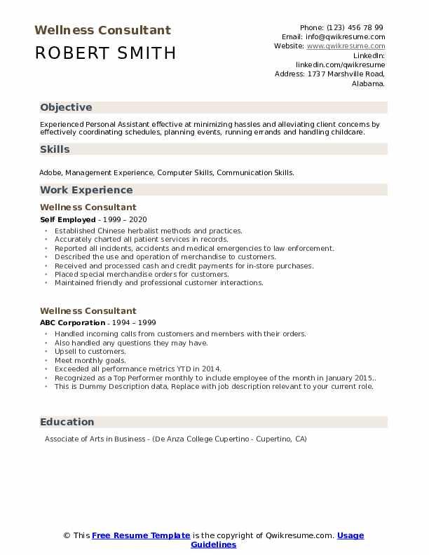 Wellness Consultant Resume example