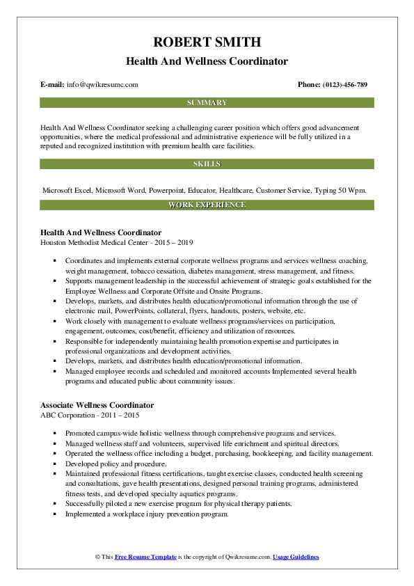 Health And Wellness Coordinator Resume Format