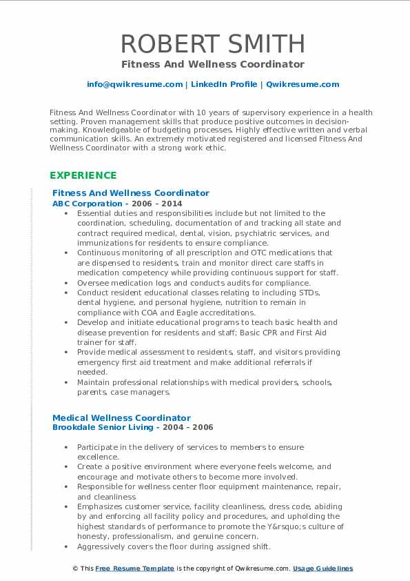 Fitness And Wellness Coordinator Resume Format