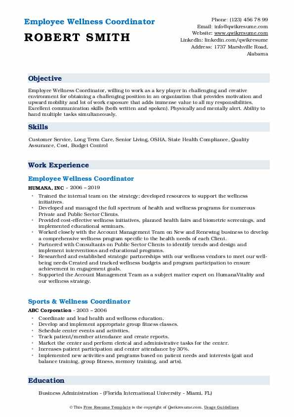 Health And Wellness Coordinator Resume Template
