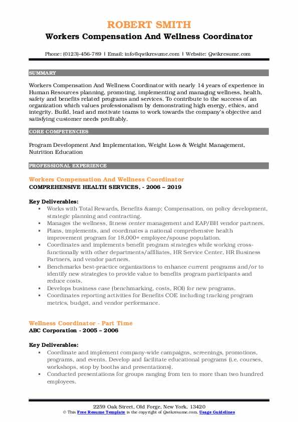 Workers Compensation And Wellness Coordinator Resume Format