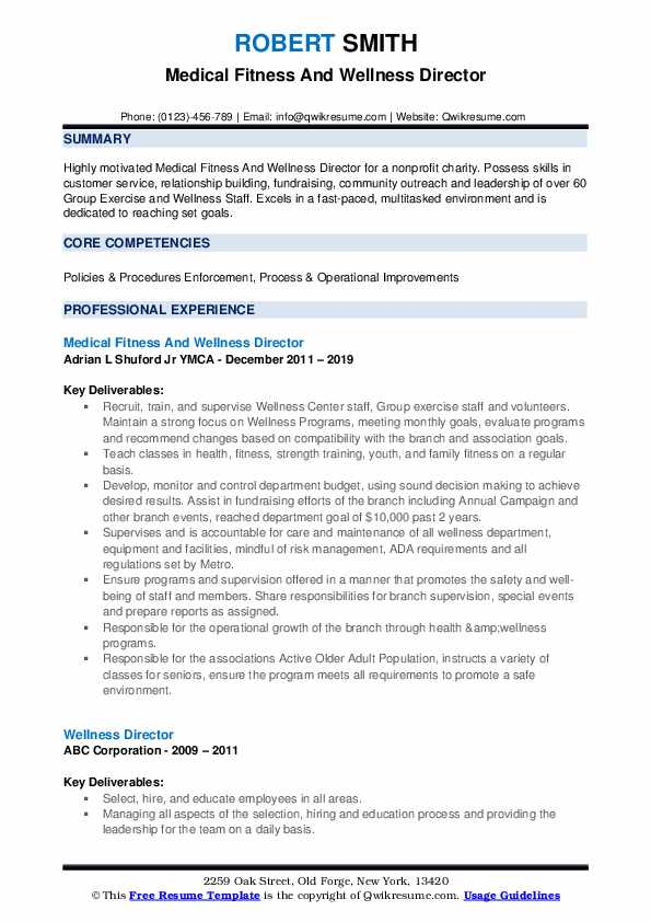 Medical Fitness And Wellness Director Resume Model