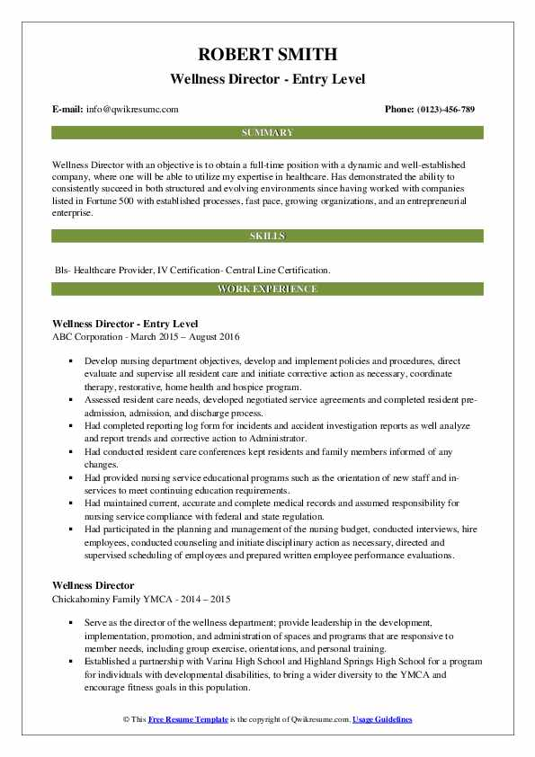 Wellness Director - Entry Level Resume Template