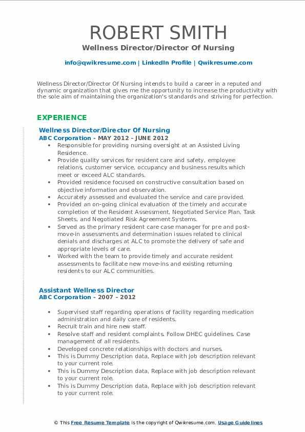 Wellness Director/Director Of Nursing Resume Template