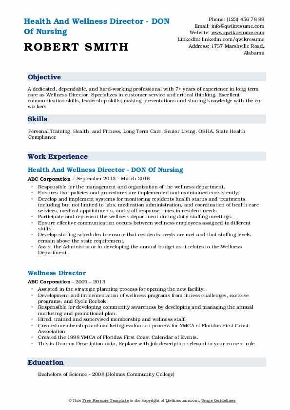 Health And Wellness Director - DON Of Nursing Resume Sample