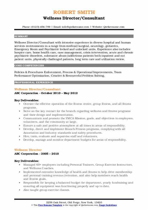 Wellness Director/Consultant Resume Model