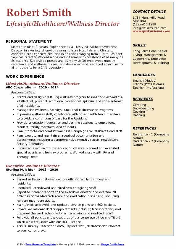 Lifestyle/Healthcare/Wellness Director Resume Sample