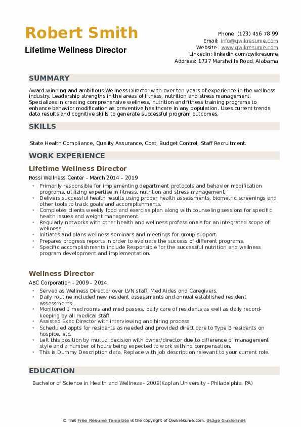 Lifetime Wellness Director Resume Model