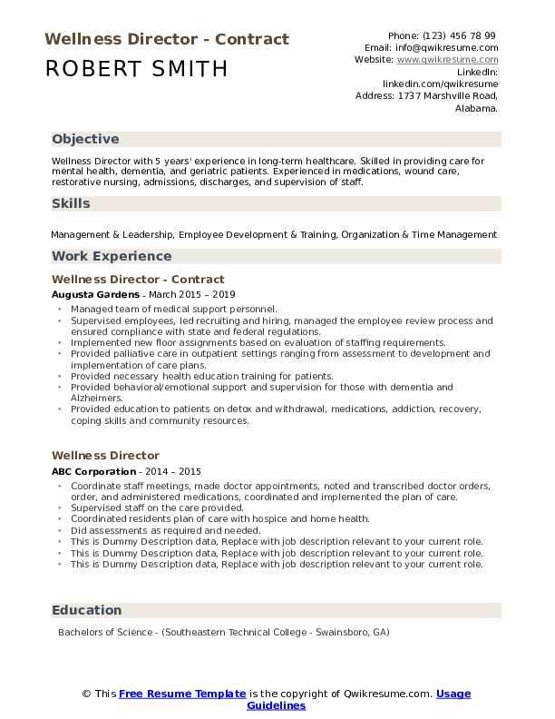 Wellness Director - Contract Resume Template