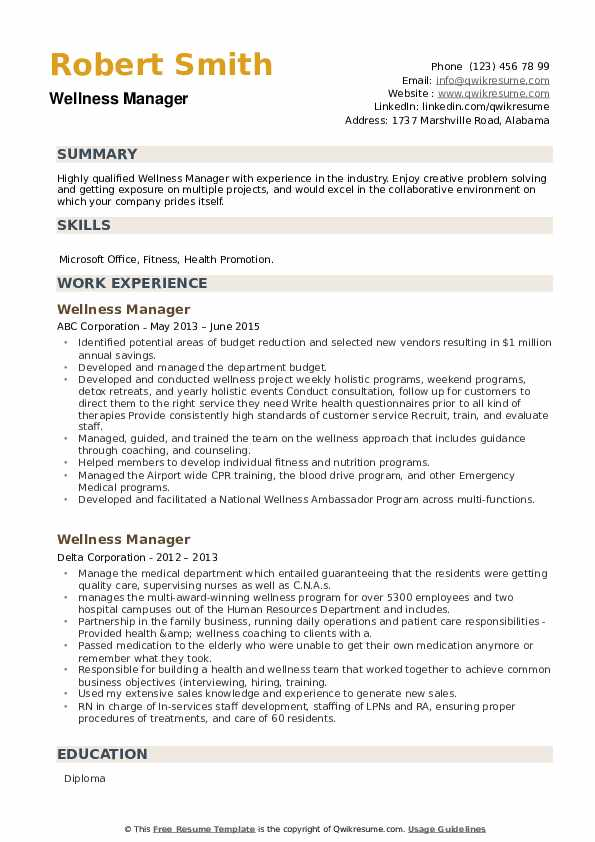 Wellness Manager Resume example