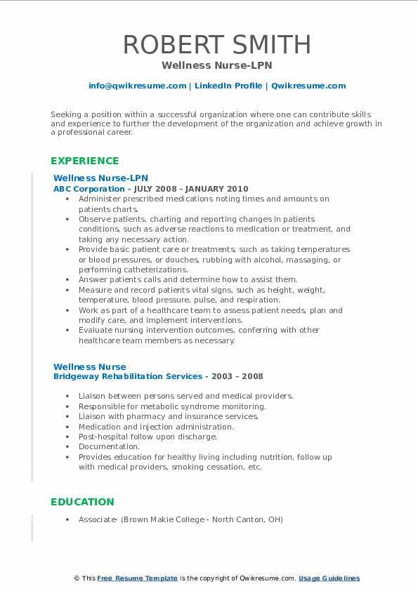 Wellness Nurse-LPN Resume Format