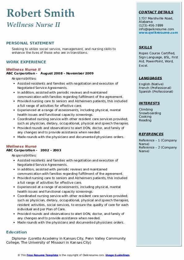 Wellness Nurse II Resume Sample