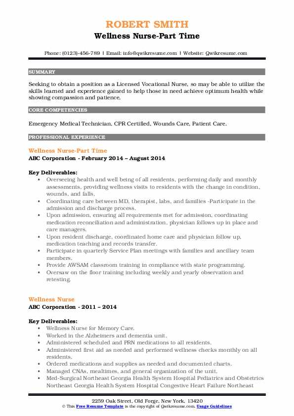 Wellness Nurse-Part Time Resume Template