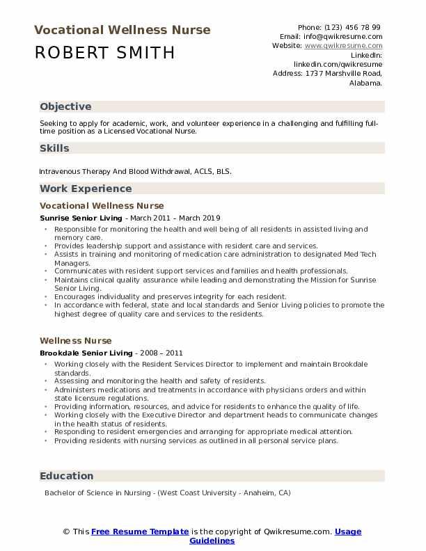 Vocational Wellness Nurse Resume Format