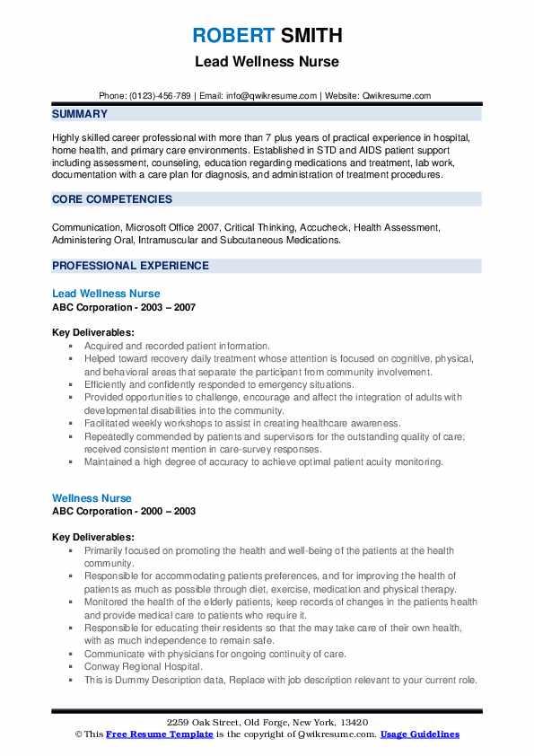Lead Wellness Nurse Resume Format