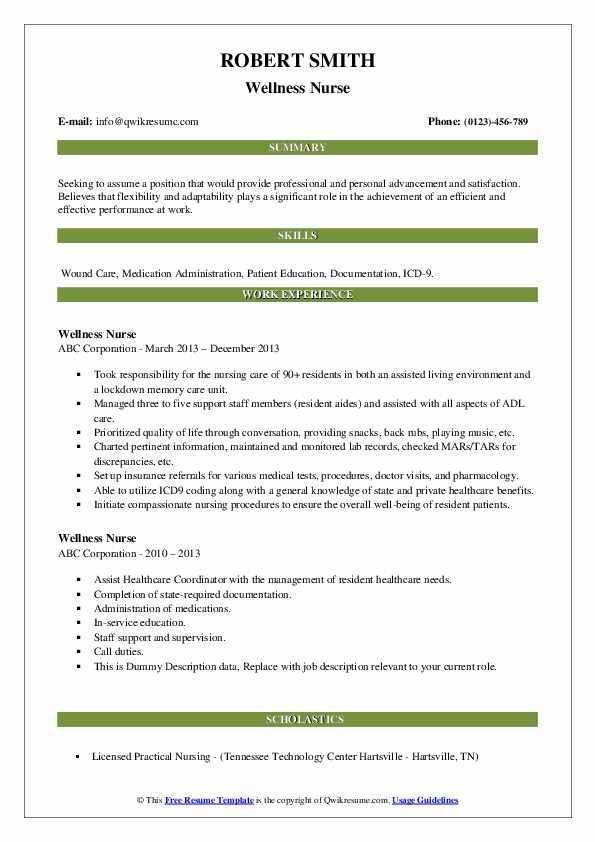 Wellness Nurse Resume example