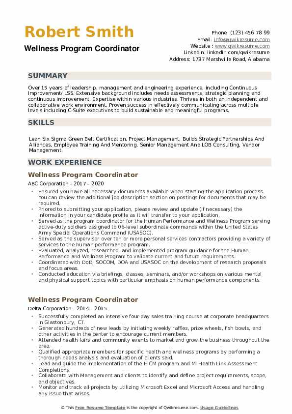 Wellness Program Coordinator Resume example