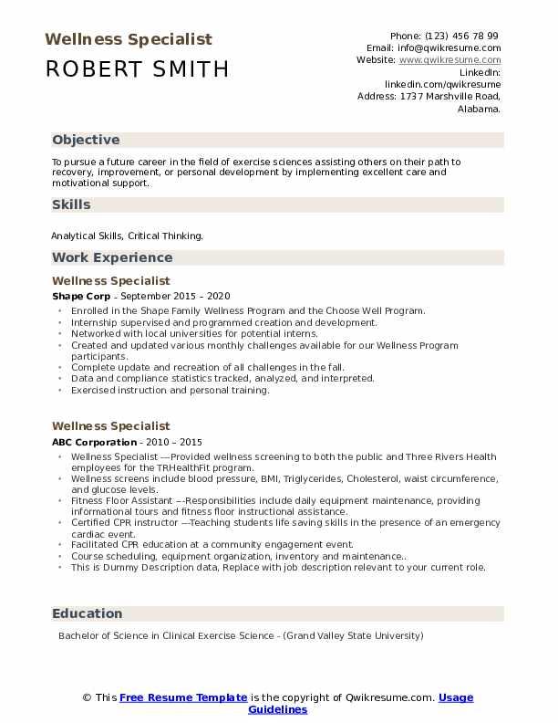 Wellness Specialist Resume example