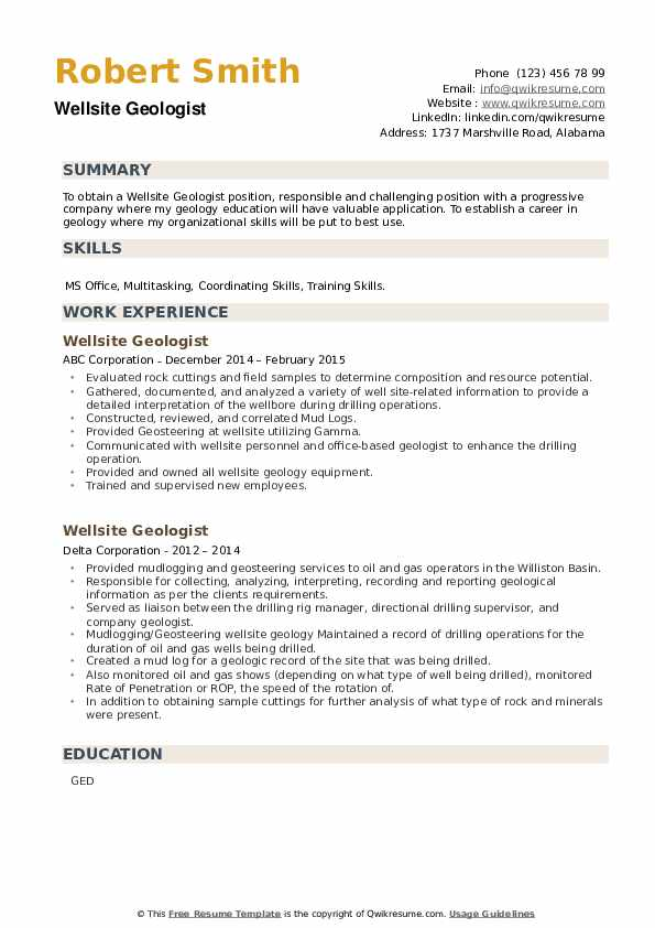 Wellsite Geologist Resume example