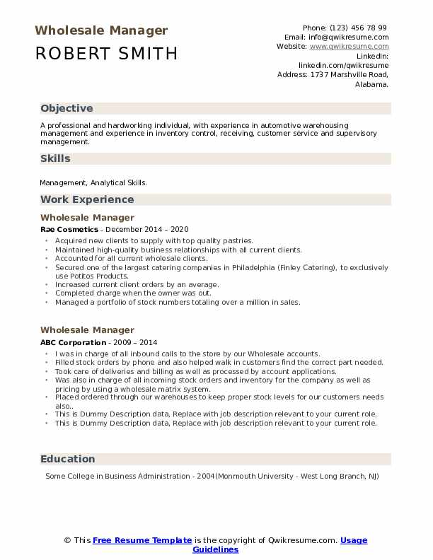 Wholesale Manager Resume example