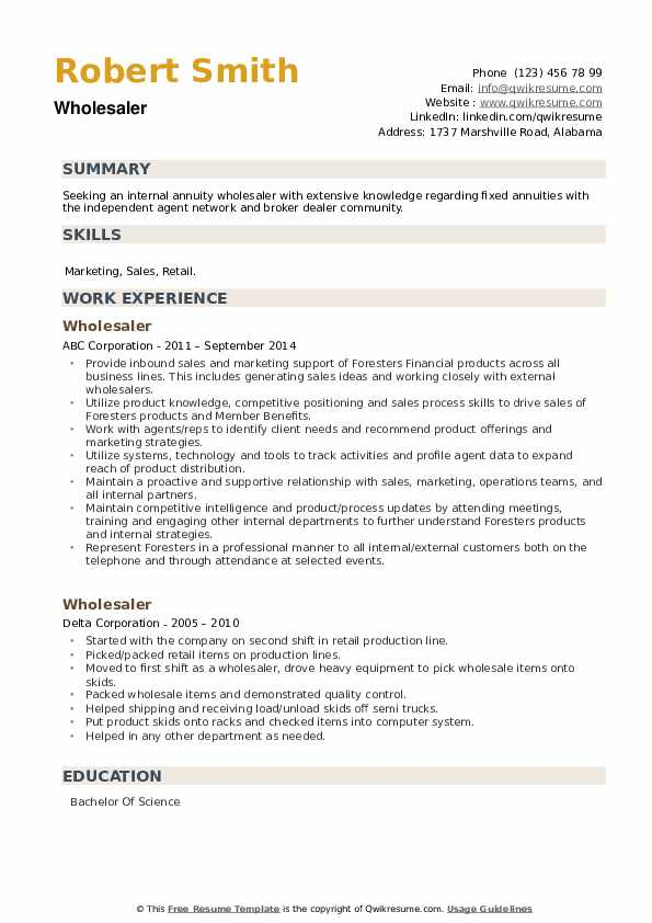 Wholesaler Resume example