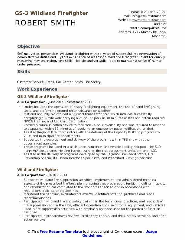 GS-3 Wildland Firefighter Resume Format