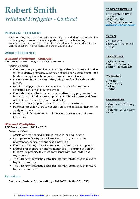 Wildland Firefighter - Contract Resume Format