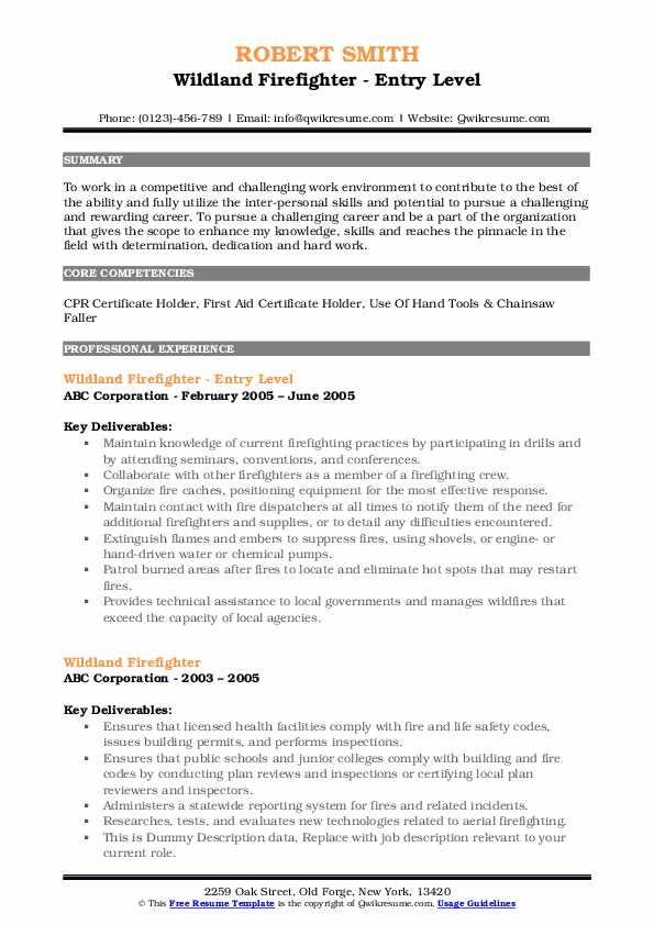 Wildland Firefighter - Entry Level Resume Model