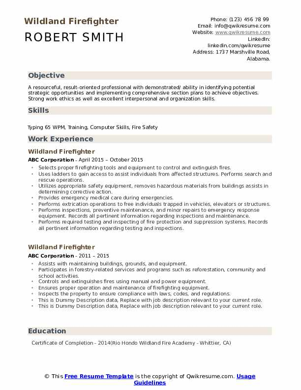 Wildland Firefighter Resume example
