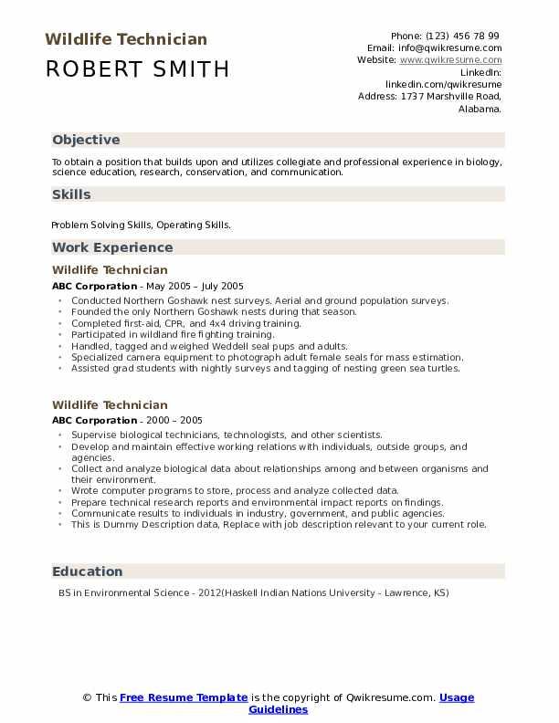 Wildlife Technician Resume example